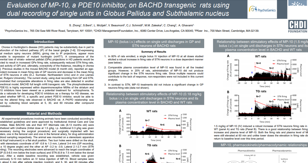 Evaluation of MP-10, a PDE10 inhibitor, on BACHD transgenic rats using dual recording of single units in Globus Pallidus and Subthalamic nucleus